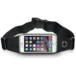 """Riñonera Running - Cinturón deportivo para corredores y actividades al aire libre. Riñonera Cinturón impermeable, elástico y ajustable para teléfonos móviles hasta 5""""5 (iPhone 6S, iPhone 6S plus, Samsung S5/S6, Note 4 etc) (NEGRO)"""