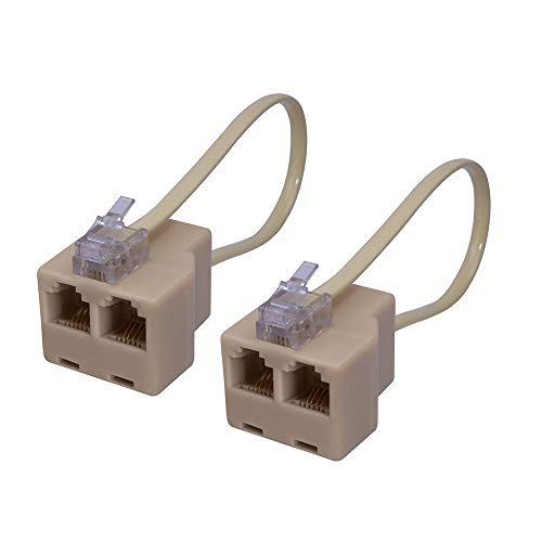 Dollaou Telefon-Splitter 2-Wege, 6P4C RJ11 Telefonstecker auf RJ11 Buchse, Adapter Konverter und Trenner Stecker auf Zwei Buchsen für Telefone 2 Stück (Zwei-wege-telefon-splitter)