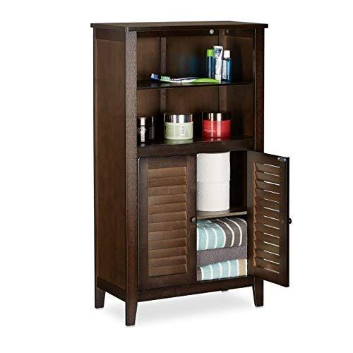 Relaxdays lamell mobile da bagno marrone scuro, armadietto in bambù, mobiletto telefono, hxlxp: 92 x 50 x 25,5 cm