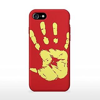 adraw Apple iPhone 7/8 Hülle, Thermo Case, Thermo Hülle, Wärmeempfindliches Back Case Cover, Fluoreszierende Smartphone Hülle, Schutzhülle, Handyhülle mit Farbwechsel, Stoßfest (Rot zu Gelb)