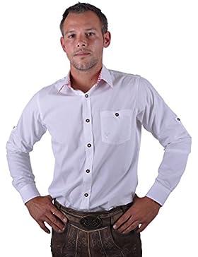 Almwerk Herren Trachten Hemd weiß Modell Ottmar 100% Baumwolle kariert an Ärmel und Kragen in Rot, Grün, Schwarz...