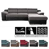 Cavadore Ecksofa Xenit mit Longchair rechts, L-Form Couch mit Kopfteilverstellung und Bettfunktion, 271 x 81-94 x 168, Materialmix grau - schwarz