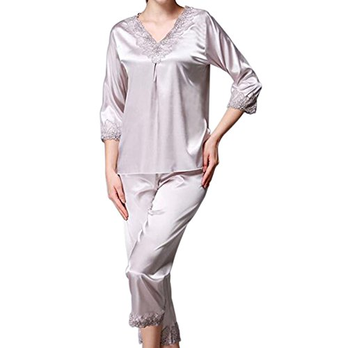 Hzjundasi Frauen Satin Seide Pyjama-Set 3/4 Ärmel V-Ausschnitt Spitze Trimmen Mädchen Nachtwäsche 2 Stück Slip Lose Loungewear Schlafanzüge Nacht Kleidung (Anzug 2 Stück Seide)