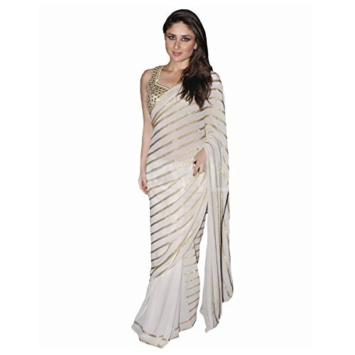 Tiana Creation Georgette Saree (Kareena_White_White)