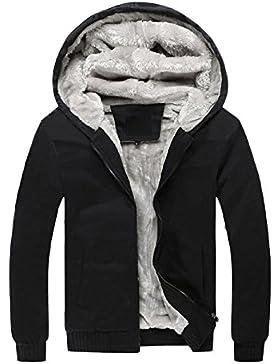 Hombre Invierno Calentar Vellón Forrado Sudaderas Con Capucha Algodón Abrigos Suave Chaquetas Outwear Tops Negro M