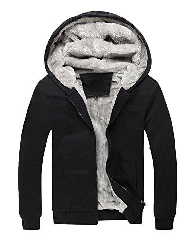 Hombre Invierno Calentar Vellón Forrado Sudaderas Con Capucha Algodón Abrigos Suave Chaquetas Outwear Tops Negro XXL