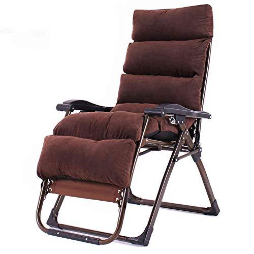 Deckchairs Feifei Zero Gravity Stühle, Faltbare verstellbare Liegestühle Lounge Patio Chairs Lounge Chair mit Kissen Ideal für Gartenlehne Seat Beach Yard Brown Zusammenklappbar (Brown-patio-stuhl-kissen)