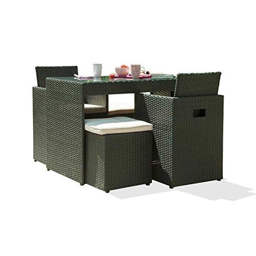 DCB GARDEN PVC-2-N+ Encastrable 2p en résine tressée Plateau Verre – 1 Table + 2 fauteuils + 2 poufs Noir, 105x60x75 cm