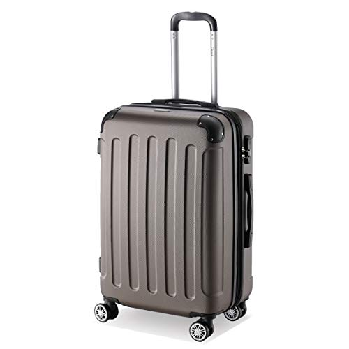 Flexot 2045 Koffer - Farbe Coffee Größe L Hartschalen-Koffer Trolley Rollkoffer Reisekoffer 4 Rollen