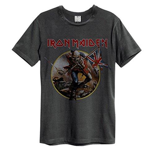 Oficial de amplificado Unisex T Shirt ~ de Iron Maiden Trooper Vintage todos los tamaños Gris gris X-Large