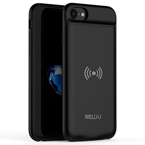 2019 Neu Qi Akku Hülle Ladehülle F. iPhone 6/6s/7/8 Kabelloses Batterie Akku Case 3000mAh Ultra-Dünn Laden Huelle Schutzhülle Akkucase Drahtlos Induktion Protective Cover Schwarz
