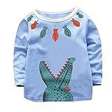 Zarupeng Kinder Langarm T-Shirt mit Krokodil-Druck Babys Mädchen Jungen Pullover Sweatshirt mit Rundhalsausschnitt Spielanzug Kleidung