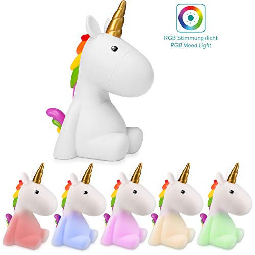 Navaris luz de noche para niños - Lámpara LED de unicornio y cable micro USB - Iluminación RGB brillo...