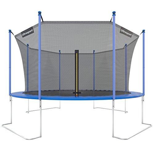 Ultrasport Outdoor Gartentrampolin Jumper, Trampolin Komplettset inklusive Sprungmatte, Sicherheitsnetz, gepolsterten Netzpfosten und Randabdeckung, bis zu 130kg, Blau, Ø 430 cm