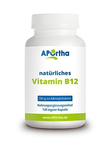 APOrtha natürliches, aktiviertes Vitamin B12 | 500 µg | Adenosylcobalamin aus Fermentation |120 vegane Kapseln | allergenfrei