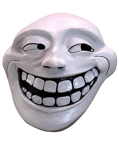 Trollface Maske als Internet Comic Meme Verkleidung für Halloween & Karneval