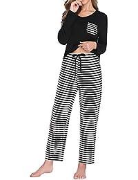 Lusofie Damen Pyjama Set Lange&Kurz Ärmel Gestreiftes Nachtwäsche-Set Schlafanzug mit Tasche