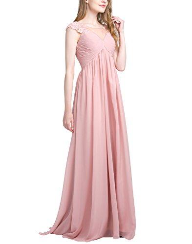 Find Dress Robe Demoiselle d'Honneur Femme Longue Mousseline de Soie Robe Soirée pour Party des fêtes Fluide Robe de Cocktail Dos Nu pour Mariage Grande Taille Ivoire