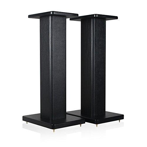 minify BS-S8-1 Paar 52cm MDF Boxenständer in schwarzem holzdekor/Lederoptik-Finish - ideal für Boxen mit Holzdekor