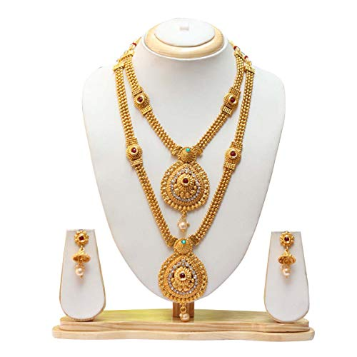 Swaraj Creation Green Maroon Colour Gold Plated Haram With Earrings Jewellery Set For Women