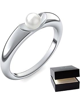 Perlenring Weißgold Ring Akoya Perle weiß 585 + inkl. Luxusetui + Akoya Perle weiß Ring Weißgold Perlenring Weißgold...