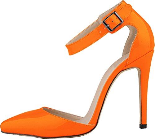CFP ,  Damen Durchgängies Plateau Sandalen mit Keilabsatz Orange