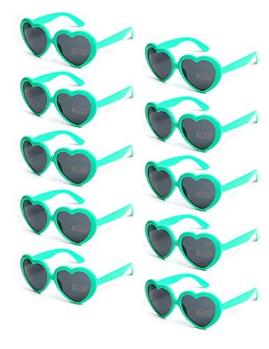 Onnea 10 Stücke Herz Förmige Party Favorisiert Sonnenbrillen UV400 Schutz für Kinder Nur (10 Grün)