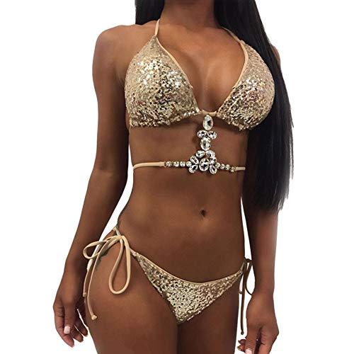 Man9Han1Qxi Glanz Glitter Bling Frauen Sexy Pailletten Strass Zwei Stücke Halfter Verband Bikini Badeanzug Bademode Golden S
