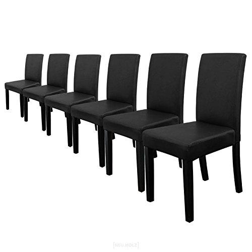 [En.casa] 6 sillas tapizadas (negro) (alta calidad) con patas de madera maciza...