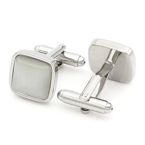 Kemstone Silver Tone Square White Opal Mens Shirt Cufflinks