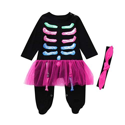 OdeJoy Baby Mädchen Jungen Halloween Langeärmel Set Farbe Skelett Schädel Knochen Gedruckte Fuß Onesies Ha Yi + Haarband Spielanzug Kostüm O Ausschnitt Baumwolle Overall (Schwarz,80)