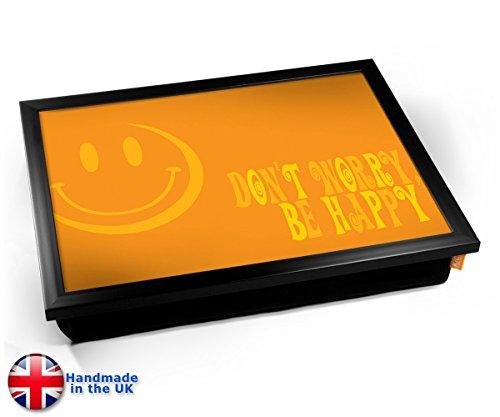 KICO Don't Worry Be Happy Peace Design Cushion Lap Tray Vassoio con Cuscino