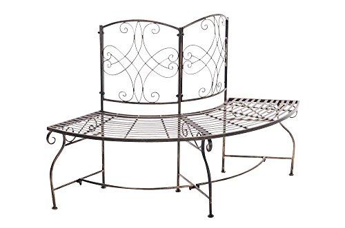 CLP Metall Eckbank / Gartenbank LORENA, Baumbank Design nostalgisch antik, Eisen lackiert, ca. 140 x 60 cm Bronze - 2