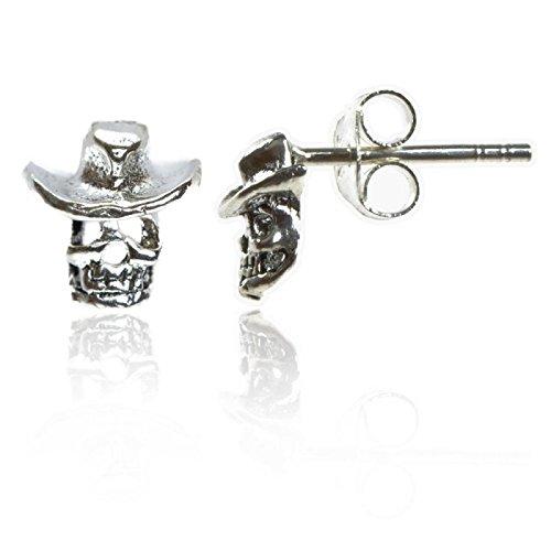 Chic-Net Silberohrstecker Cowboy Hut Totenkopf Ohrstecker Ohrringe 925er Sterling Silber Schmuck