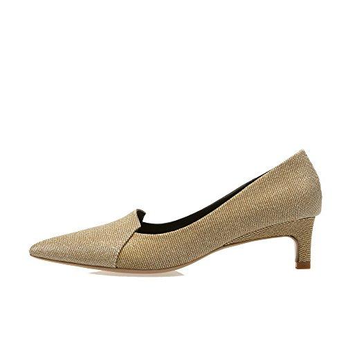 AllhqFashion Damen Büffelleder Rein Reißverschluss Spitz Zehe Hoher Absatz Pumps Schuhe Golden