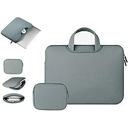 Anitech® Funda PC portátil/funda/caja mango bolsa, MacBook Laptop Sleeve para Apple iPad Pro y ordenador portátil/Macbook Pro/MacBook Air/MacBook Pro Retina Ultrabook/tablet/Asus–con bolsa accesorios gratis gris gris oscuro 15 - 15.6pouces
