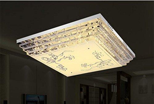 FengChandelier-Plafonnier en cristal atmosphère rectangulaire moderne salon simple chambre salle à manger lampes et lanternes, Diagonal fleur 50 * 50 télécommande 7 couleurs tricolore lumière