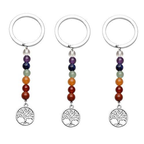 QGEM 3 pis/set Schlüsselanhänger silber Lebensbaum Anhänger chakra Healing Edelstein Reiki Steinkugeln Schlüsselringe Keychain Dekoration