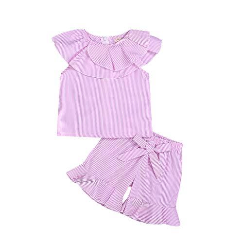 Julhold Kleinkind Kinder Baby Mädchen süße Elegante Outfits Kleidung Streifen Weste Shirt + Bowknot Shorts Set 2-6 Jahre