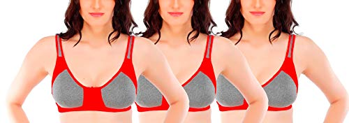 Fabme Women's Non Padded Non Wired Bra (Pack of 3) (Po3-BR0202_Red_40B)