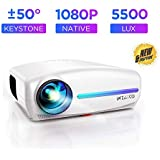 WZATCO S2 Native 1080P Full HD LED Projector, 5500 Lumens 4D Correction Home Cinema (White)