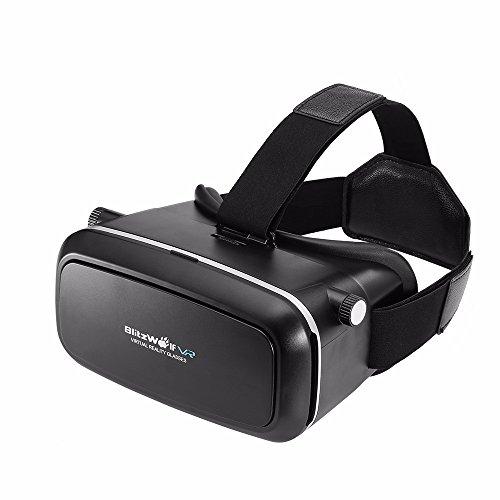 3D VR Brille, BlitzWolf 3D Virtual Reality Brille Google Pappkarton Upgraded Version für IOS iPhone SE 6 6s Plus, Android Samsung Galaxy S5 S6 S7 Edge Note 4 5 (Schwarz)