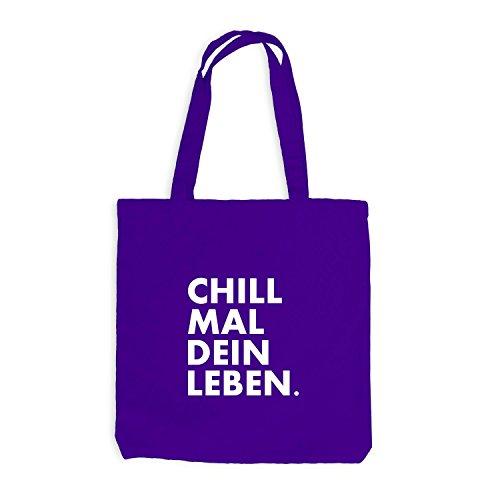 Jutebeutel - Chill mal dein Leben - Chilln Relax Weed Violett