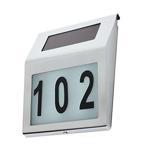 Maclean MCE172Lámpara con número de la casa, colector solar, lámpara con sensor de luz solar LED de acero inoxidable