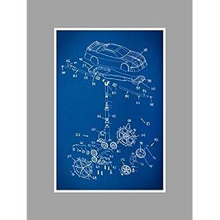 ArtsyCanvas Race Car 2 Gearhead Blueprint Art (24 x 16 Poster), 24