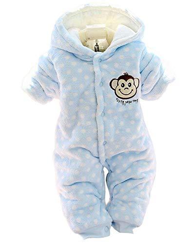 Minetom Herbst Winter Verdickte Overalls Baby Mädchen Jungen Overall Cartoon Coral Fleece Kinderkleidung Warm Einteiler Spieler AFFE Blau 12-18 Monate (86) Butterfly Pant Set