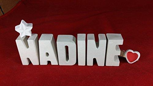 Beton, Steinguss Buchstaben 3 D Deko Schriftzug Namen NADINE als Geschenk verpackt! Ein ausgefallenes Geschenk zur Geburt, Taufe, Geburtstag, Namenstag oder auch zu anderen Anlässen. 6