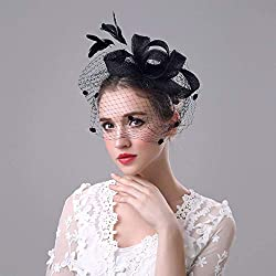 Wohlstand Diadema con lazo y Plumas,Tocado para boda,Mesh Ribbons Feathers on a Headband,velo,para mujeres y niñas