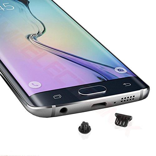Staub Schutz SCHWARZ Kopfhörer Kappe Micro USB Stöpsel für Samsung Galaxy S7 Edge SM-G935F