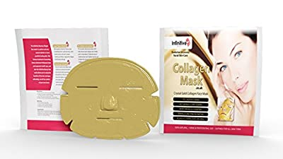 5 x New Infinitive Beauty Crystal 24K Gold Powder Gel Collagen Face Mask Masks Sheet Patch, Anti Ageing Aging, Skincare, Anti Wrinkle, Moisturising, Moisture, Hydrating, Uplifting, Whitening, Remove Blemishes & Blackheads Product. Firmer, Smoother, Tone,
